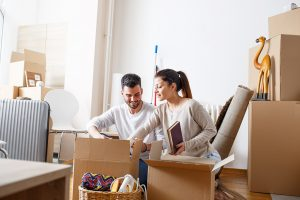 Unpacking household items after relocation