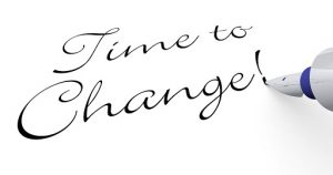 time to change written on paper